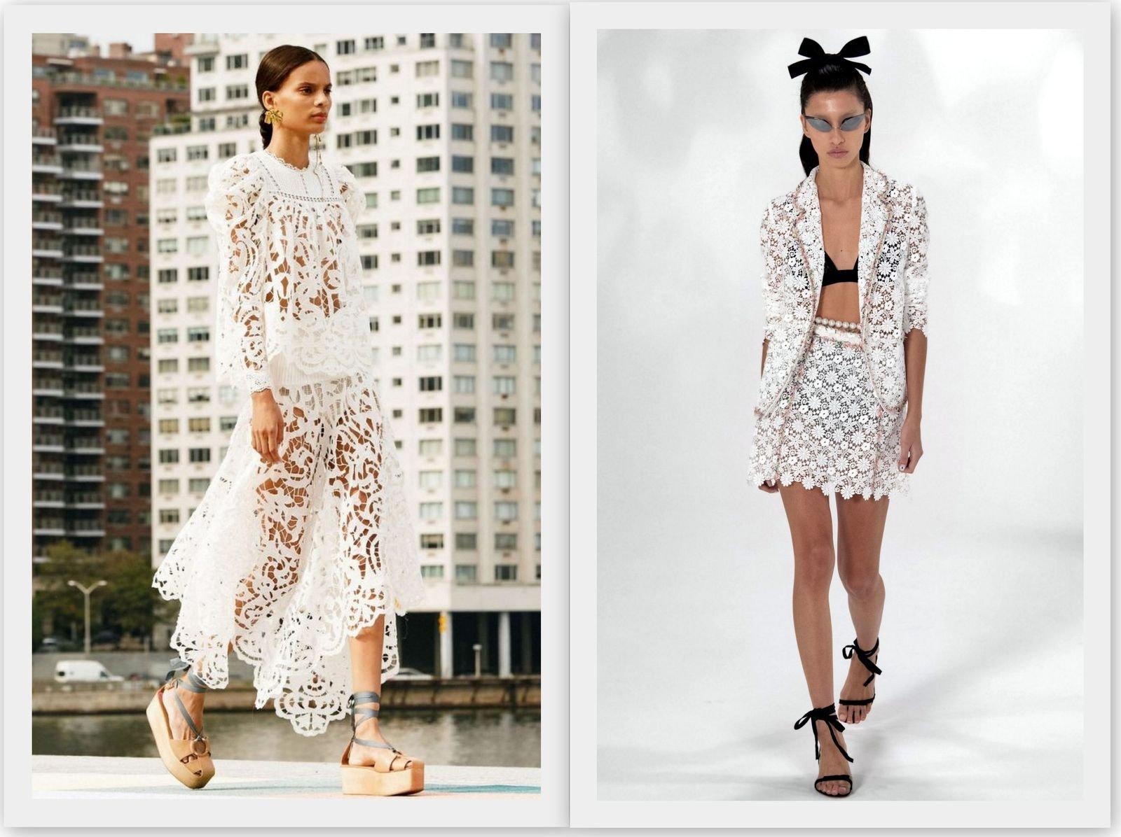 Белое кружево в женской моде 2021