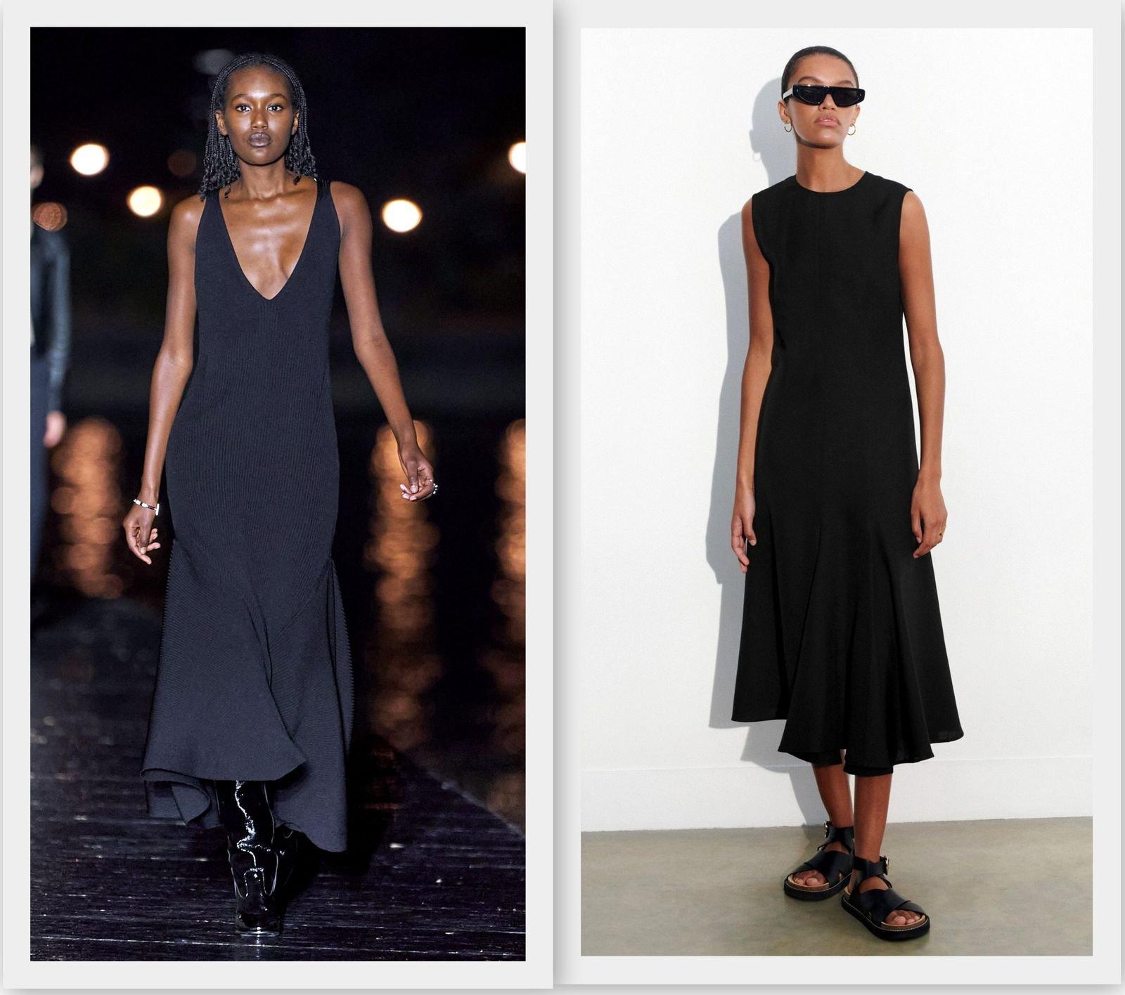 Однотонное черное платье 2021