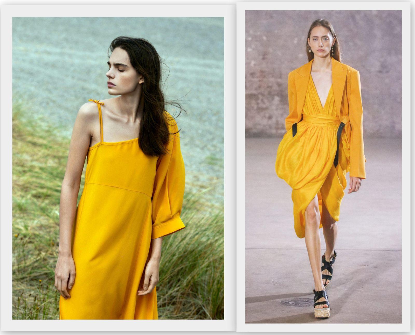 Желто-оранжевый цвет в моде 2021